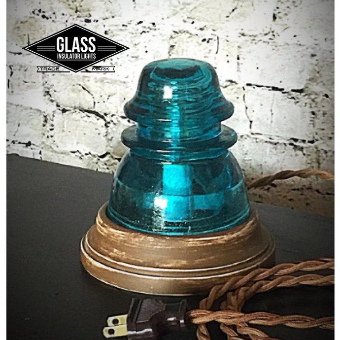 Glass Insulator Lamp - Glass Insulator Light - Insulator Light -LED Glass