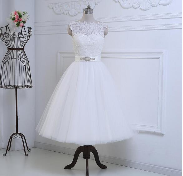 83bb16d52a27 Discount Wedding Dress High Neck Wedding dress Tea Length Bridal Gowns  Zipper