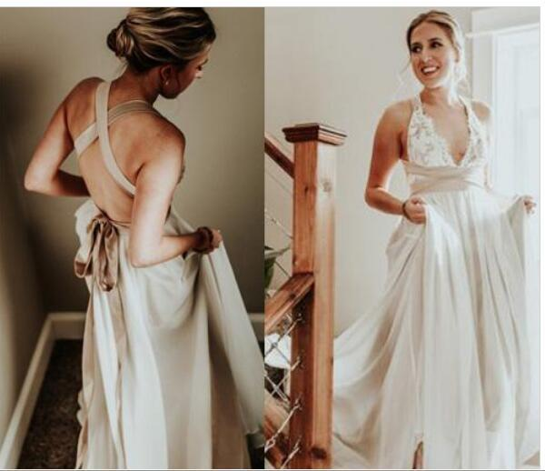 Plus Size Casual Beach Wedding Dresses 2018 Spaghetti Straps Lace Chiffon  Floor Length Empire Waist Elegant Bridal Gowns Deep V Neck