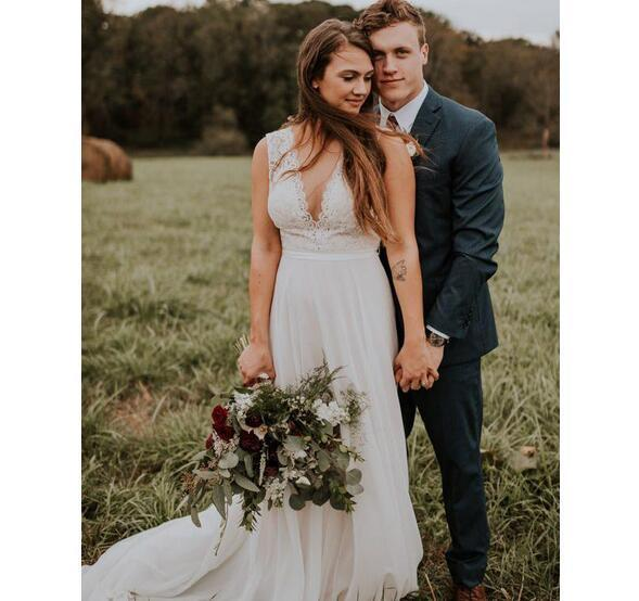 Simple Beach Wedding Dresses.2018 Simple Lace Bohemian Beach Wedding Dresses Country Sleeveless Sweep Length Deep V Back Summer Boho Hippie Western Bridal Gowns