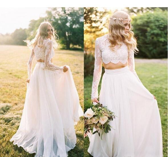 163468371c99 Country Wedding Dresses Two Piece Scoop Lace Chiffon Beach Sheer Neck  Beautiful