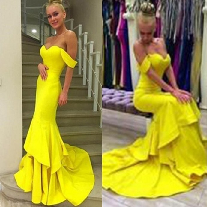 Yellow Mermaid Prom Dresses,Satin Prom Dresses,Mermaid Evening Dresses,Prom