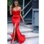 Red Sweetheart Neckline Bodice Mermaid Prom Dress with High Split