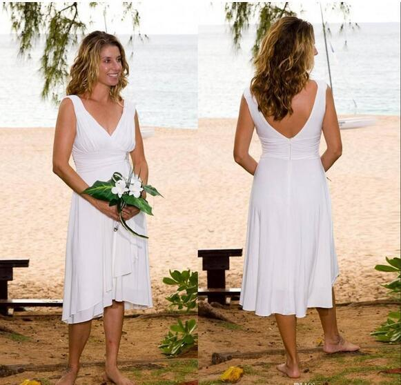 cc0cc4bf9a6 Short Beach Wedding Dresses With V-Neck Tea Length Cheap Bohemian Wedding  Dress