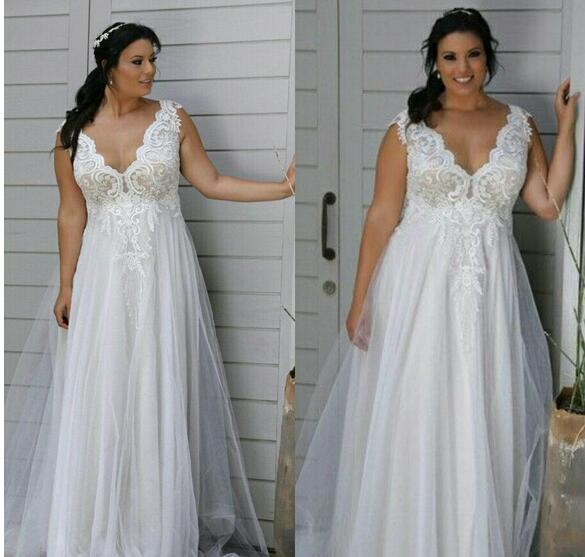 Modest Plus Size Wedding Dresses V Neck Backless A Line Wedding Gowns With