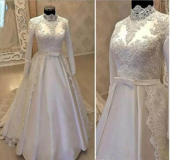 f0654a1c5c Vintage High Neck Muslim Wedding Dresses 2019 With Long Sleeve Lace  Overskirts