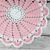 Lovely Crocheted Pink White Doily Table Topper - 10 1/2 inches