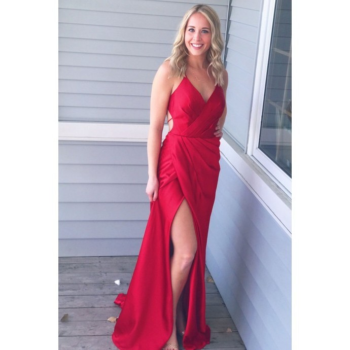 Simply Gorgeous Red Long Prom Dress with Side Slit by dresses on