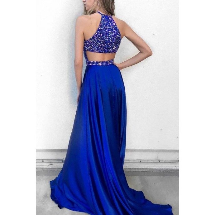 Classic Halter Sequins Royal Blue Long Prom Dress Party Dress