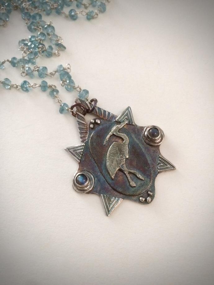 Crane necklace, OOAK crane totem, spirit bird, labradorite necklace, apatite