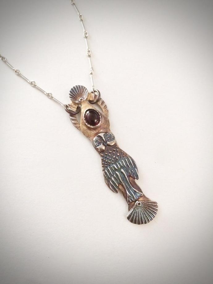 Owl necklace, owl totem, Art Deco owl, spirit bird, owl lover, garnet necklace,
