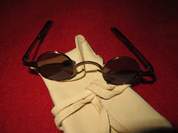 18th Century Authentic Spectacles Sunglasses with Round Lens & soft elk leather