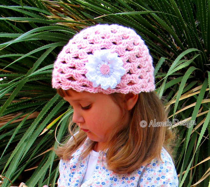 Crochet Pattern 055 Lace Hat Butterfly Beanie Toddler Child Teen Adult  Spring