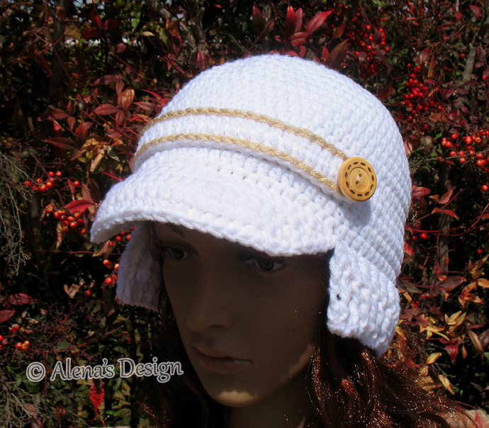 Crochet Pattern - FREE Crochet Hat Pattern Visor Beanie with Ribbed Brim Baby