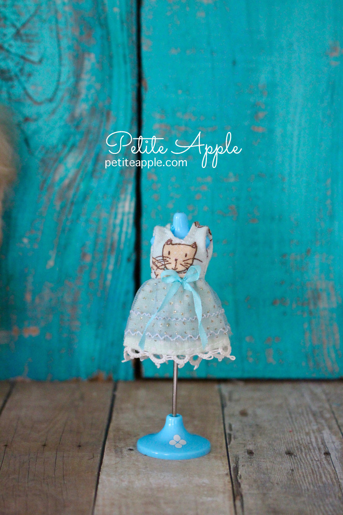 Dress for PETITE Blythe - Party cat OOAK outfit