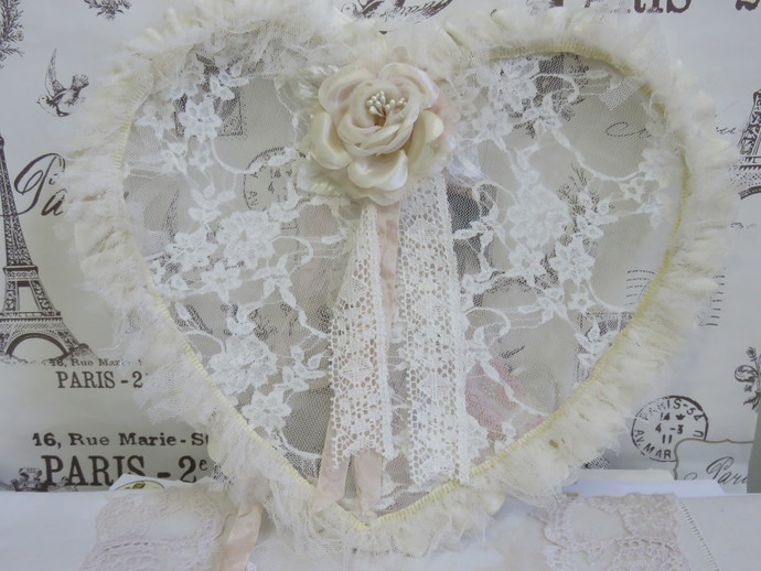 Vintage Lace and Tulle Ruffled Heart with Vintage Rose and Gift Tag, Shabby