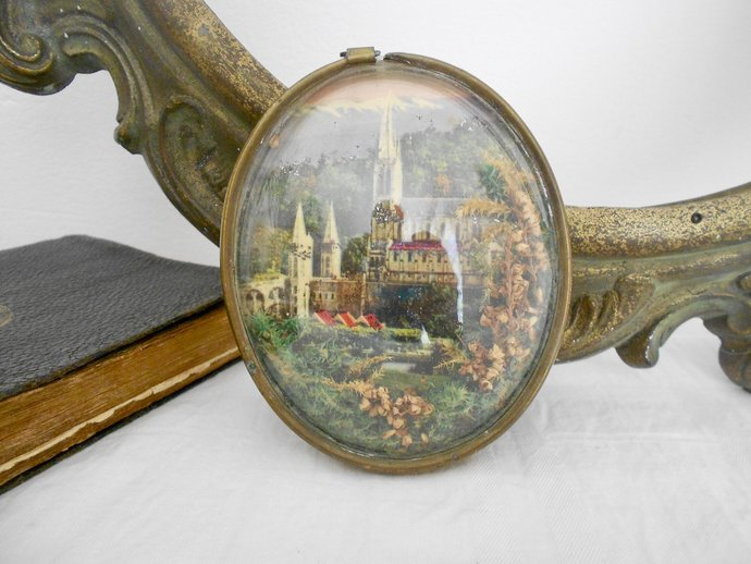 Edwardian, Catholic Gifts, Lourdes Souvenir, Small, Oval Picture, Brass, St
