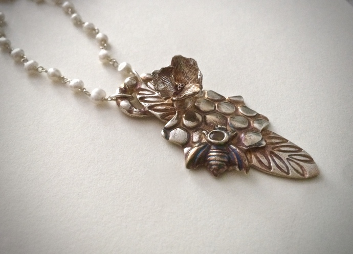 Bee necklace, honeycomb, silver flower, wire wrapped pearls, bee totem, yellow