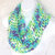 Infinity Moebius Scarf, spiral crocheted in Fresh Aqua, Purple, and White soft