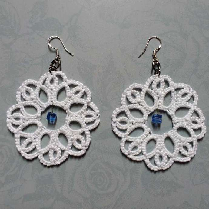 Tatted White Wedding Lace Earrings