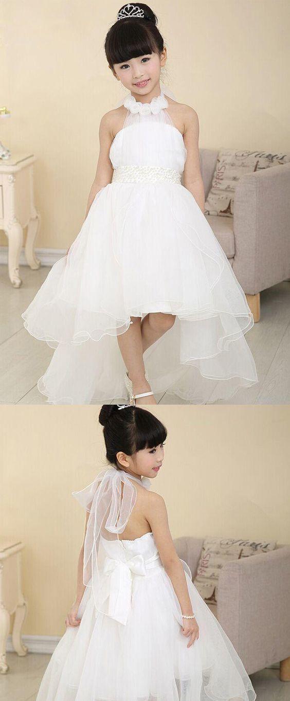 Sweet Organza Halter Neckline Hi-lo A-line Girls' Formal Dress