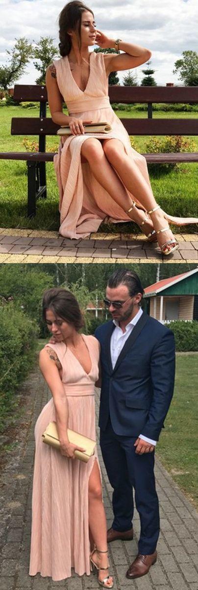 v neck long prom dresses, fashion high slit party dresses BD225