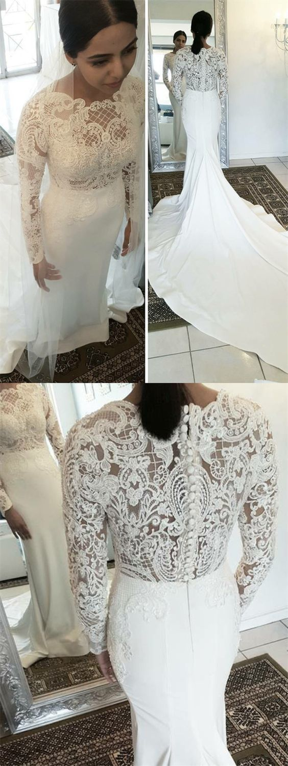 Mermaid Round Neck Long Sleeves White Wedding Dress with Lace