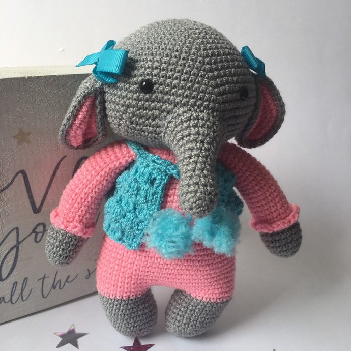 Rock Star Elephant Crochet Baby Girl Gift Set,Baby Shower Gift, Baby Girl Gift