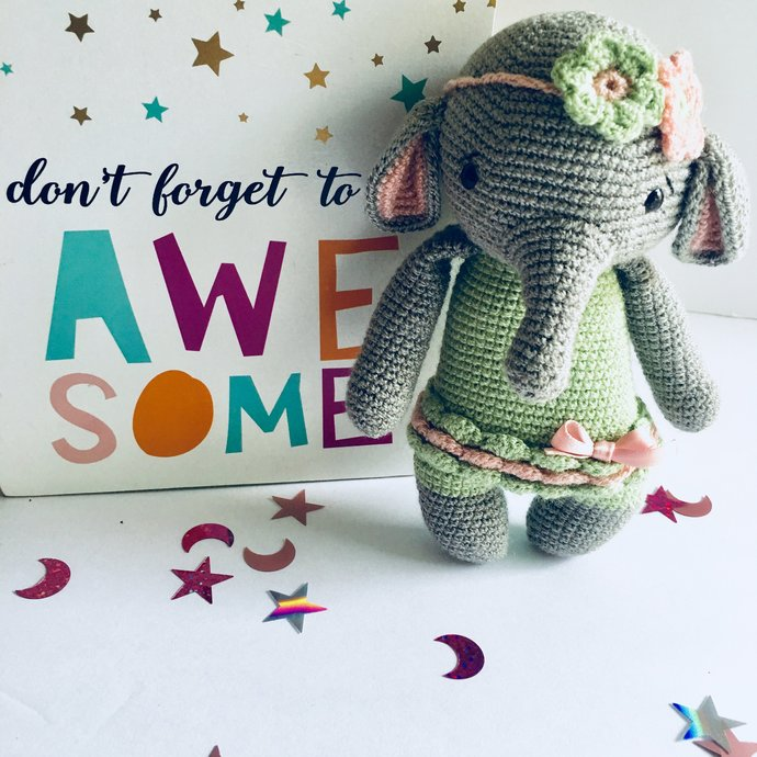 Ellie The Elephant Crochet Baby Girl Gift, Baby Shower Gift, Baby Girl Gift,