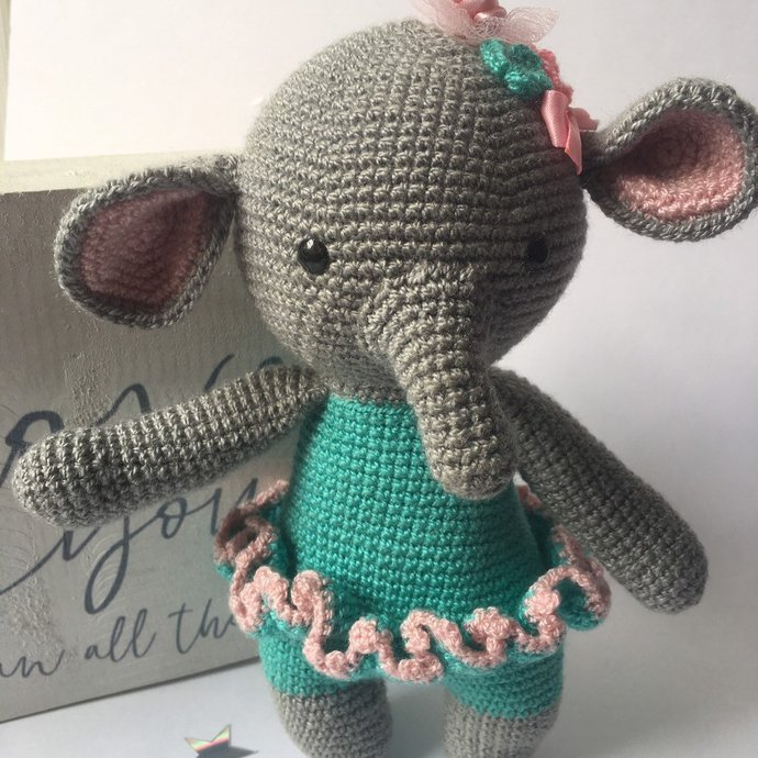 Ballerina Elephant Crochet Baby Girl Gift Set,Baby Shower Gift, Baby Girl Gift