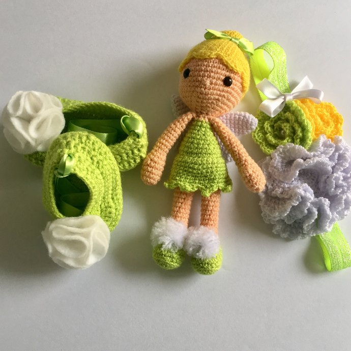 Baby TinkerBell Inspired Crochet Set, Amigurumi Plush Toy, Crochet NEWBORN