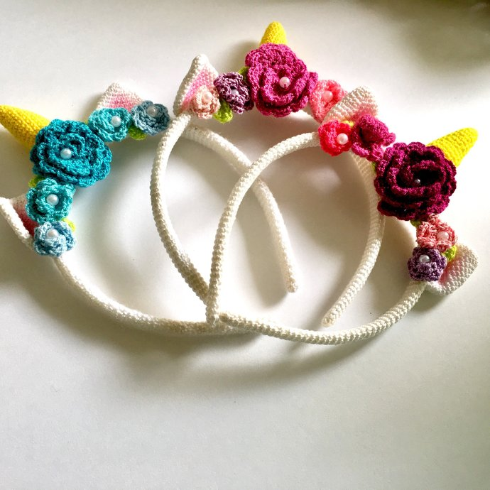 Unicorn Flowers Crochet Headband, Unicorn Headband, Unicorn, Unicorn Party,