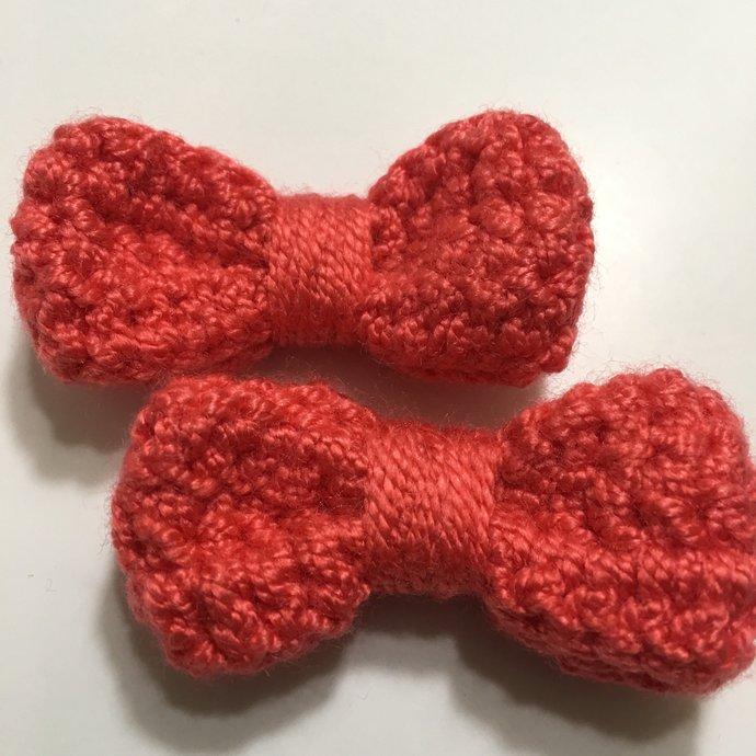 "2"" inches Bow crochet clip hair set, crochet hair clips, crochet bows, crochet"