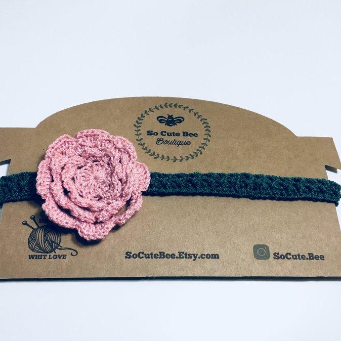 Headband Crochet Baby Accessories, Newborn Size baby girl, hot pink headbands