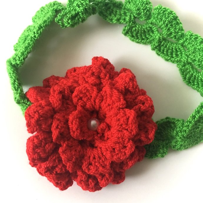 "16"" Headband Adjustable, Baby Flowers Crochet Headband, Newborn Baby Girl"