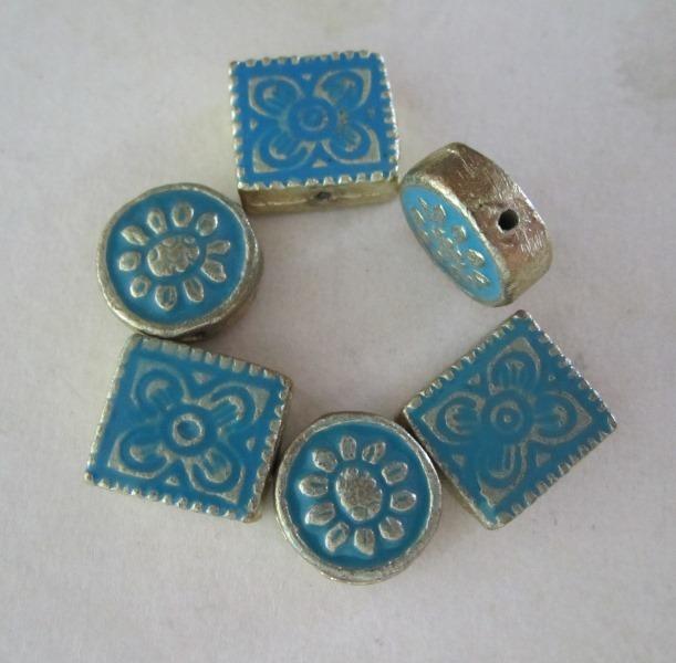 Enamel Metal Floral Beads
