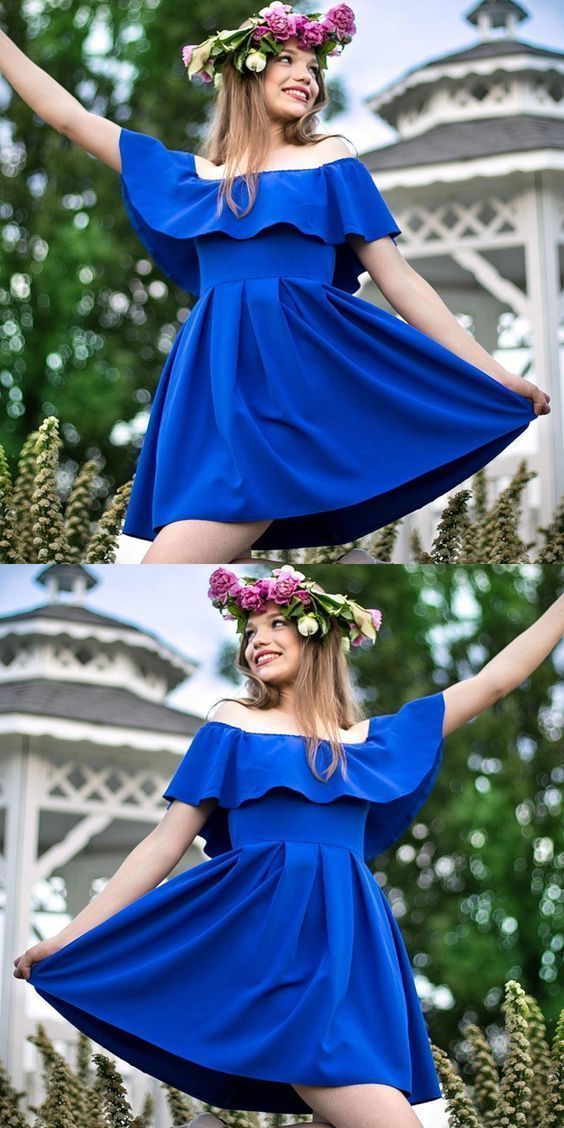 123f8e46fb1 A-Line Off the Shoulder Royal Blue Homecoming by Dress Storm on Zibbet