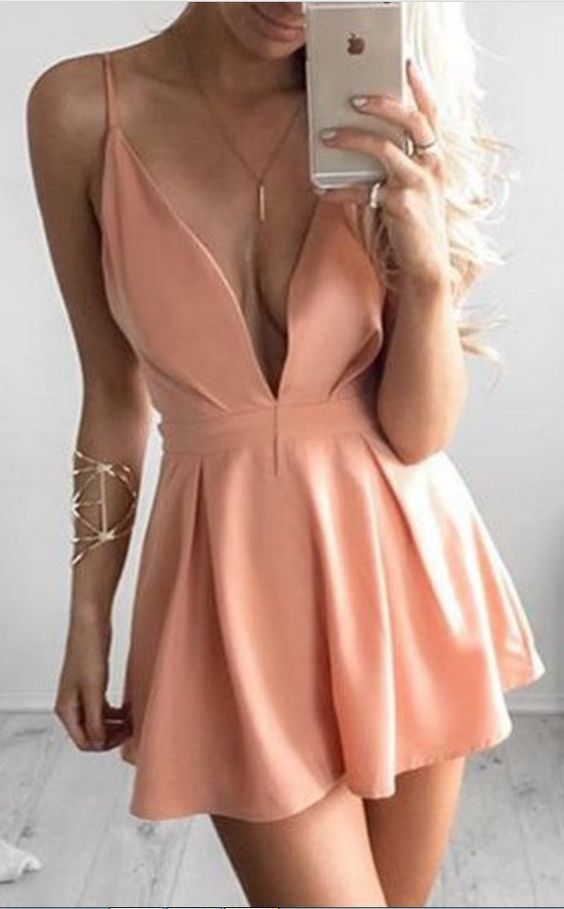 Elegant Deep V Neck Homecoming Dress,Short Prom Dress,Cheap Prom Dress,Formal
