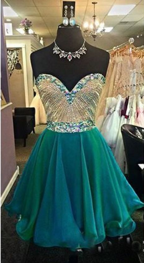 Emerald Green Sweetheart Beaded Short Homecoming Dress,Short Prom Dress,Cheap