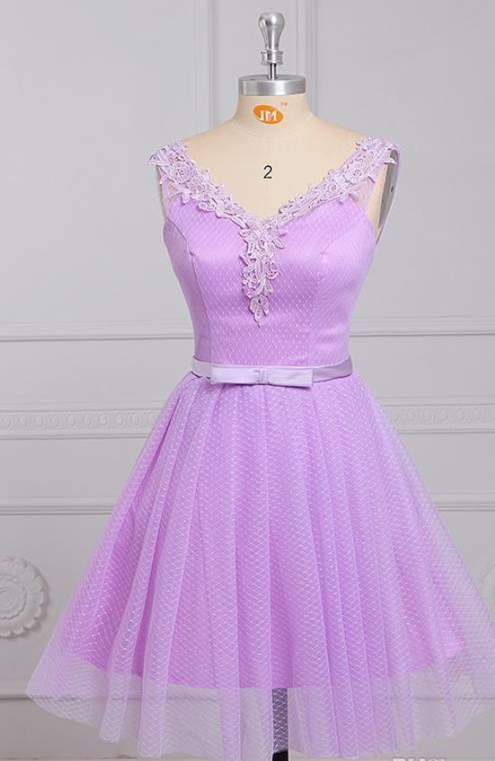 Short Light Purple V Neck Bow Belt Lace Tulle Prom Homecoming Dress,Short Prom