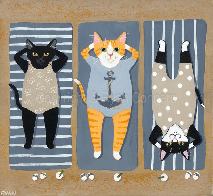 The Lazy Sunbathers Summer Cats Original Cat Folk Art Acrylic Painting