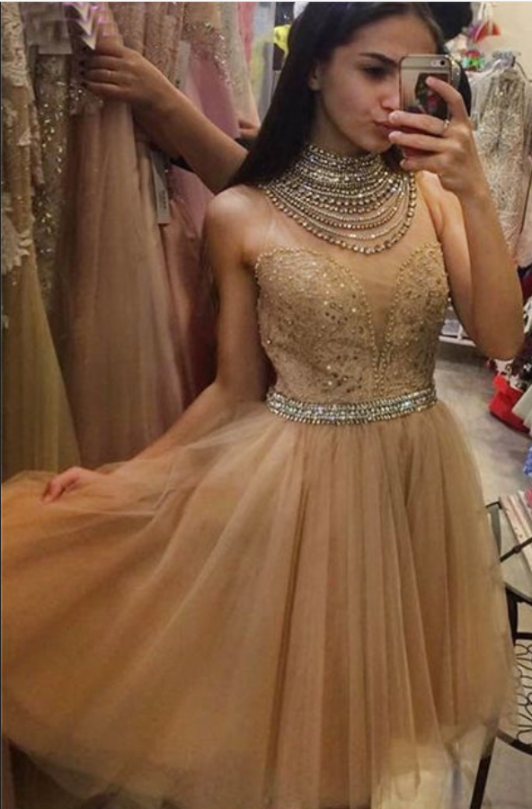 Sexy Champagne High Neck Bead Homecoming Dress,Short Prom Dress,Cheap Prom