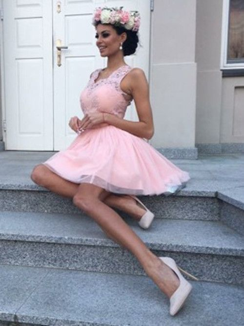 Pink A Line Homecoming Dress With Tulle,Short Prom Dress,Cheap Prom