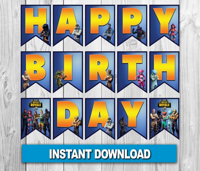 Fortnite Birthday Banner, Fortnite Digital Birthday Banner, Fortnite Flag