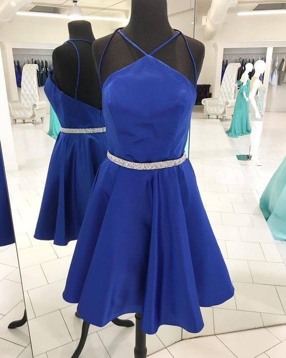 Royal Blue Short Homecoming Dress with Backless,Sexy Cocktail Dress,Cheap Prom