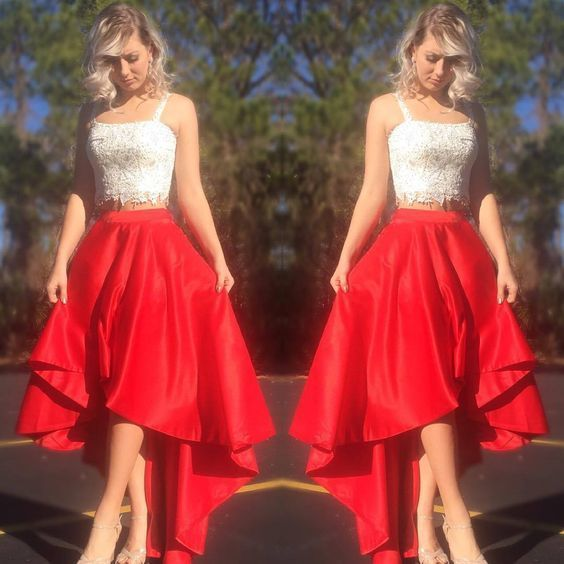 Two Pieces White And Red Homecoming Dress,Short Prom Dress,Cheap Prom