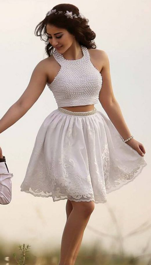 White Beaded Halter Two Piece Lace Homecoming Dress,Sexy Cocktail Dress,Cheap