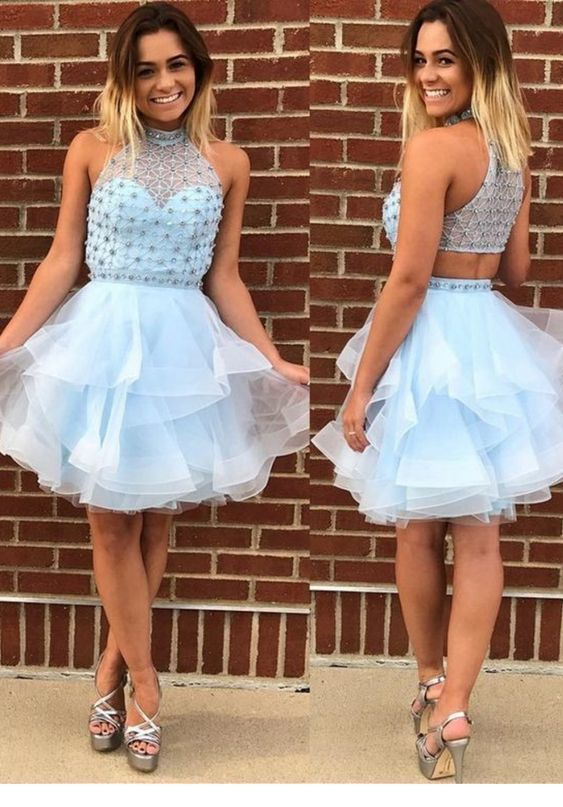 Blue Luxury Short Halter Ruffles Crystal Beading Homecoming Dress ,Sexy Cocktail