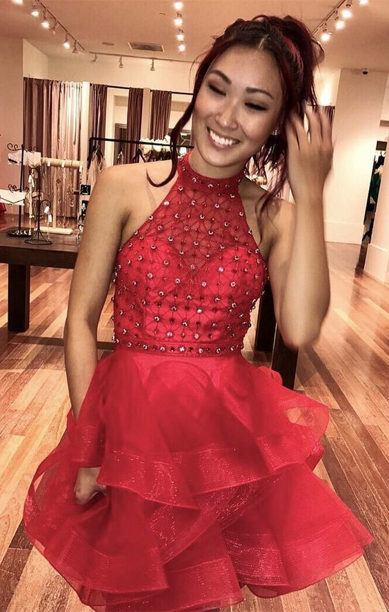 Red Beaded Halter A Line Homecoming Dress,Sexy Cocktail Dress,Cheap Prom
