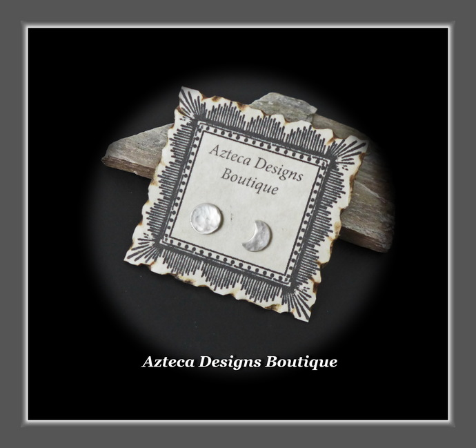 Sterling Silver Full Moon Crescent Moon Hand Fabricated Stud Post Earrings